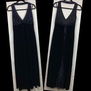 Dave & Johnny Black Velvet Beaded Dress 13/14